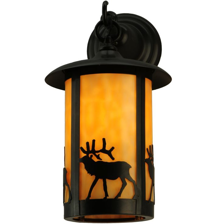 8 Inch W Fulton Elk Hanging Wall Sconce. 8 Inch W Fulton Elk Hanging Wall Sconce Theme:  RUSTIC MISSION LODGE ART GLASS ANIMALS Product Family:  Fulton Elk Product Type:  WALL SCONCES Product Application:  WALL SCONCE -- WALL SCONCE Color:  BEIGE CRAFTSMAN Bulb Type: MED Bulb Quantity:  1 Bulb Wattage:  100 Product Dimensions:  15H x 8W x 11.5DPackage Dimensions:  NABoxed Weight:  4 lbsDim Weight:  30 lbsOversized Shipping Reference:  NAIMPORTANT NOTE:  Every Meyda Tiffany item is a...