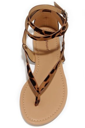 Cute Leopard Sandals - Thong Sandals - Flat Sandals - $21.00