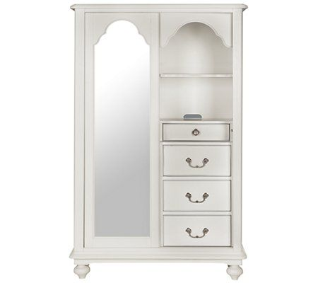 Perfect chest for little girls' rooms! The Wendy door chest packs plenty of functionality into a whimsical package. Featuring one side of adjustable open shelves and one side of drawers, this door chest offers thoughtful details like a felt-lined jewelry tray, sliding mirrored door, and gentle distressing.