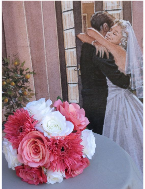 New Guava Bridal Bouquet Set Silk Guava Wedding by BridalBouquets, $273.00