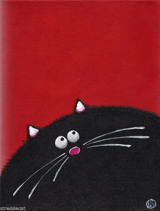 Acrylic Fine Art Painting on Canvas Fat Cat series whimsical black kitty 9x7""