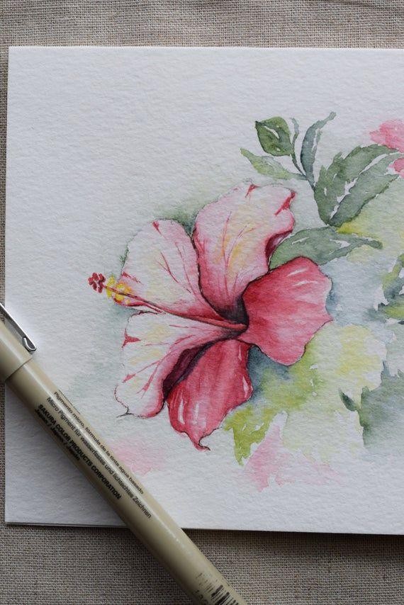 Ordinare Fiori.Rosa Magenta Ibisco Dell Acquerello Dipinto A Mano Carta Stampa