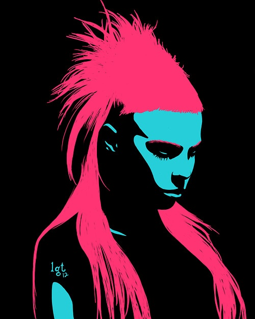 Yo-landi, Die Antwoord, pink hair, dripping with alchemy designs:   Vi$$er