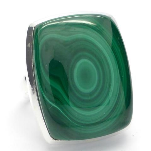 Malachite Ring Square Cab | 925 Sterling Silver | US Size 8 or P | Capricorn Scorpio Star Sign stone | Crystal Heart Melbourne Australia since 1986