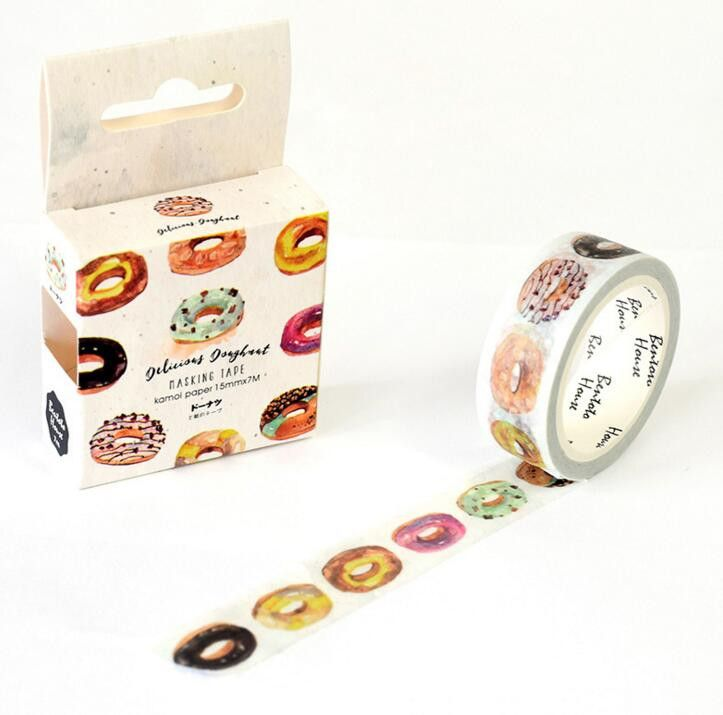 Donuts! Washi tape is decorative masking tape. Use for gift wrapping, hanging party banners, or just to snazz up your day planner. 1.5 cm x 7 meters. Imported. Of interest: Donut Flask with Multicolor