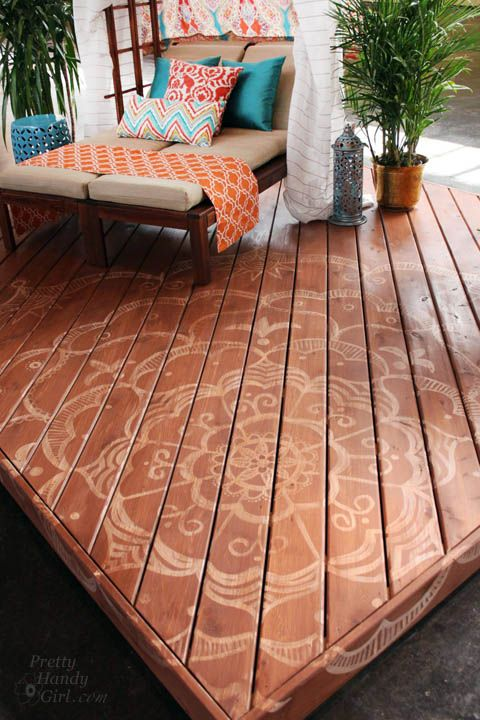 How to paint a beautiful tattoo pattern on a deck from Pretty Handy Girl