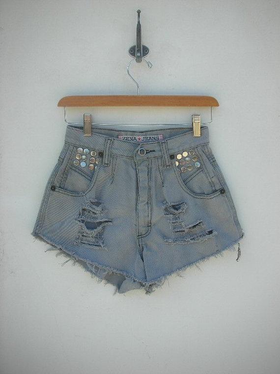 26 Waist Vintage Stud High Waist Cut Off Shorts  by ShopParis, $34.95