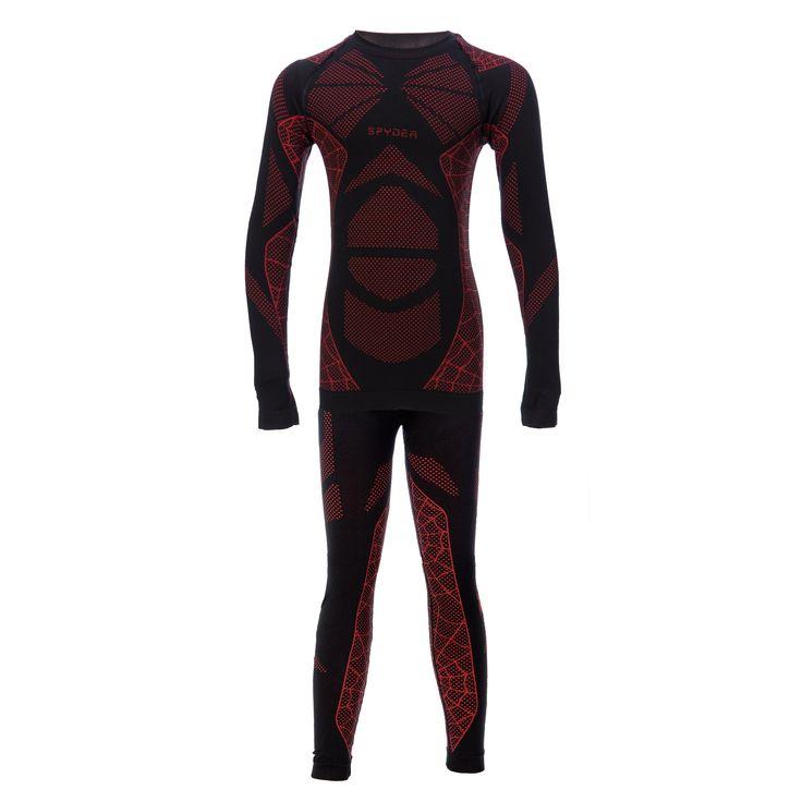 Spyder thermoset, Kinderen, Racer L/S top en broek (boxed), Zwart-Volcano rood (Ski kleding kinderen)