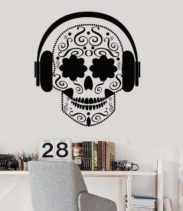 Vinyl Wall Decal Skull Headphones Music Teen Room Musical Stickers (ig4671)