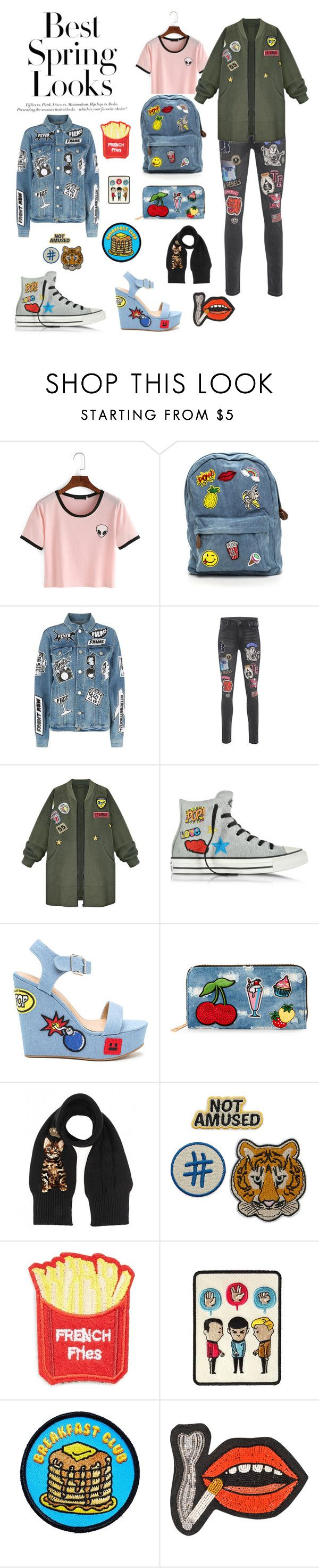 """Patch's Everywhere"" by marinapadualima ❤ liked on Polyvore featuring H&M, Frame, True Religion, WithChic, Converse, Viola, Dolce&Gabbana, Cara, Goblinko Megamall and Olympia Le-Tan"