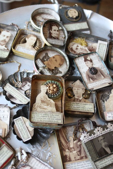 """Love these!  Exceptionally wonderful petite assemblages by Cheryl Kuhn of """"Small Stories Studio."""": Altoids Boxes Ideas, Ornaments Collage Vintage, Creative Ideas, Families Photo, Photo Collage Vintage, Altered Tins, Vintage Photo Collage, Stories Studios, Petite Assemblages"""