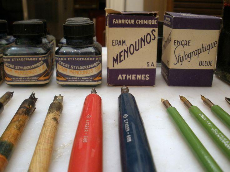 Menounos ink bottles, vintage pens and nibs