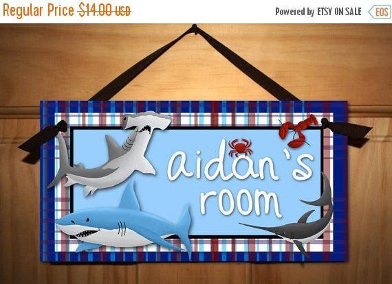 Spring SALE Shark Adventure Boys Bedroom DOOR SIGN Wall Art Ds0003 by ToadAndLily on Etsy https://www.etsy.com/listing/74151367/spring-sale-shark-adventure-boys-bedroom