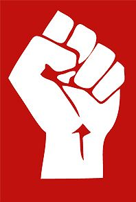 raised fist - symbol of solidarity and support; used as a salute to express unity, strength, defiance, or resistance