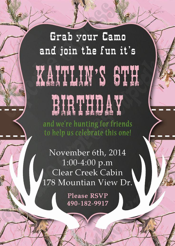 camo hunting deer invitation pink realtree camo Birthday party invitation