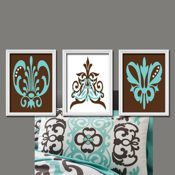 Brown Teal Aqua Damask Abstract Artwork Set Of 3 Trio Prints Bedroom Wall  Decor Art Picture