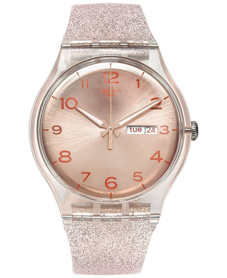 swatch womenus swiss pink glistar pink glitter silicone strap watch mm suok