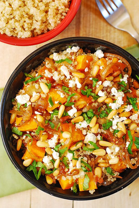 DELICIOUS. Love this--and the olive oil vinagariette using my Italian EVOO really makes this dish shine! Quinoa with Roasted Butternut Squash, Pine Nuts, and Feta