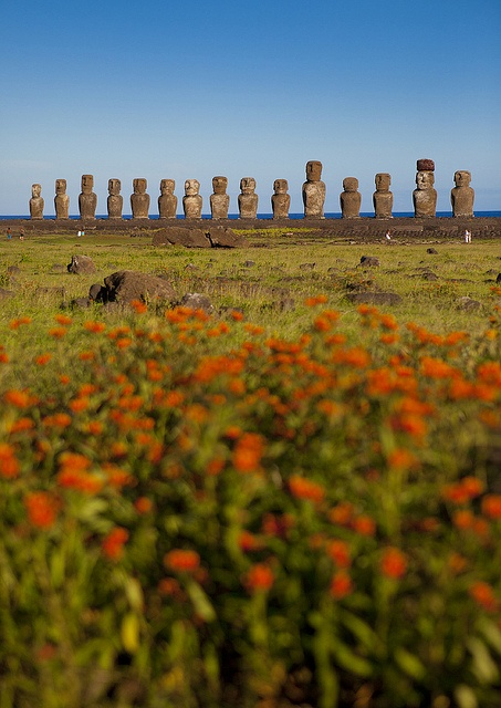 Moai estatuas monolíticas de la Isla de Pascua. #Chile