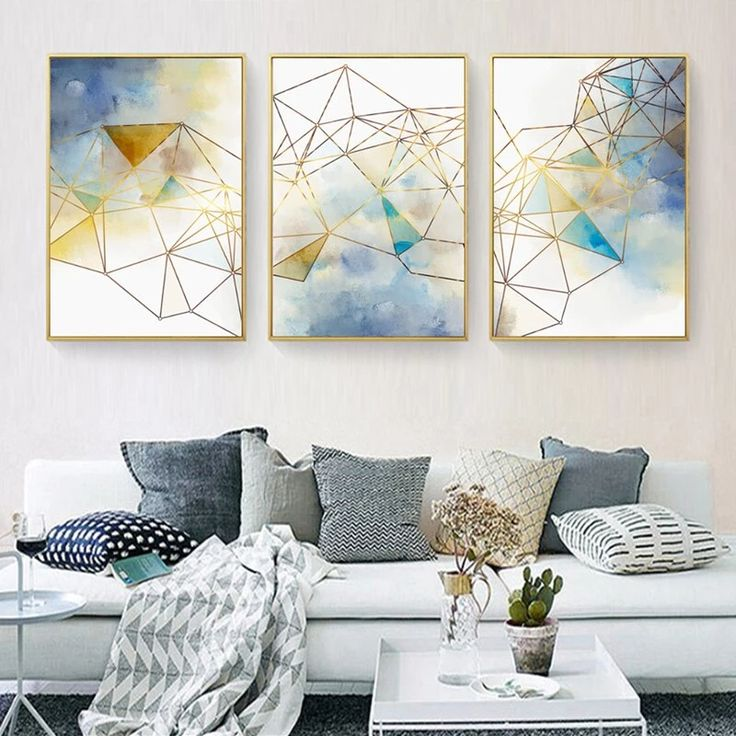 Geometric lines abstract wall art nordic style blue green