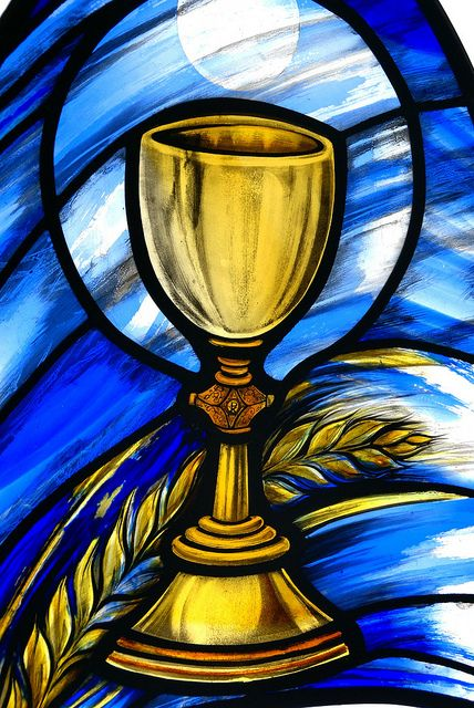 The Eucharist Stained Glass at St. Colman's Catholic Church, Portsmouth, England