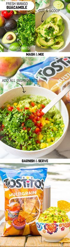 Sponsored by Frito-Lay | You just can't beat the combination of spicy and sweet. This Fresh Mango Guacamole has a mouthwatering mix of Serrano peppers and tangy mangoes, perfect for pairing with the savory crunch of Tostitos® Multigrain tortilla chips. It's easy to make, and easy to bring along wherever summer takes you. So grab a couple bags of Tostitos® or your other favorite Frito-Lay® products, dip in and enjoy!