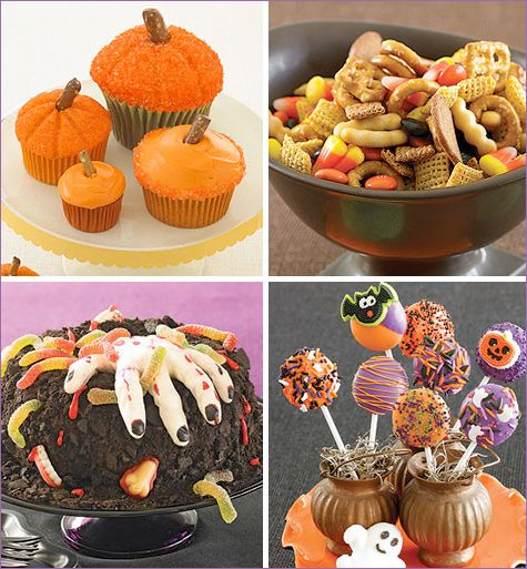 Pictured below:  • Frosted Pumpkin Cupcakes – I love the super-easy decoration idea on this one. Parents includes a link to a cupcake recipe for these too, but to keep things easy just bake up a batch of boxed cupcake mix and then have fun with the decoration!)  •. Maybe??????