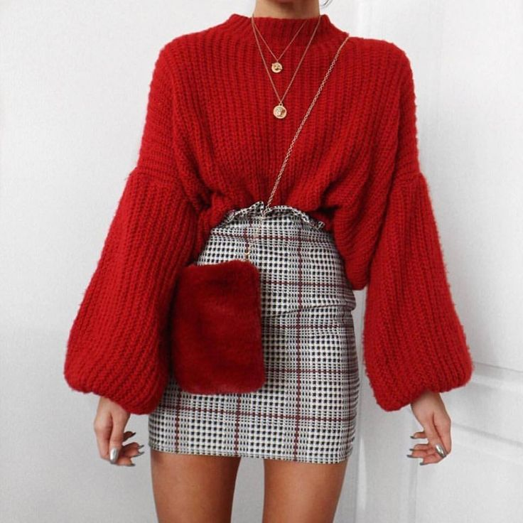 Awesome Cute Outfits l How To Wear, Sweater, Plaid Skirt, Easy Outfit, Fall Outfit, Fash…