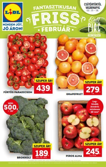 LIDL Akciós Újság 2018 február 15-21-ig: Fürtös paradicsom, Grapefruit, Brokkoli, Piros alma, Vegán termékek és még sok akciós ajánlat ebben a 48 oldalas Lidl katalógusban.