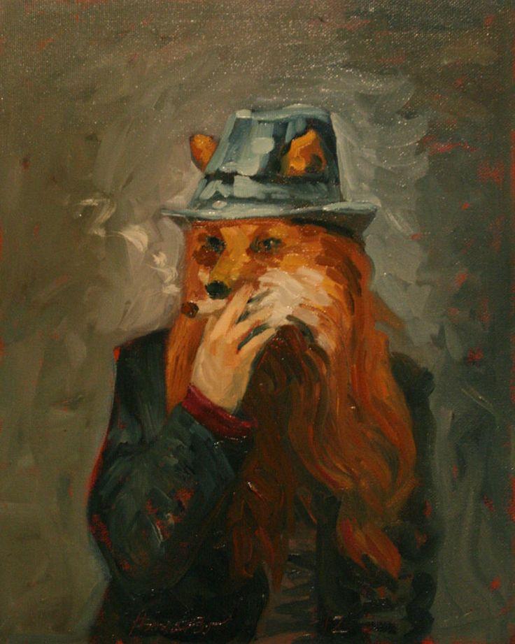 Self portrait as fox. Oil on cotton. www.ithammar.com
