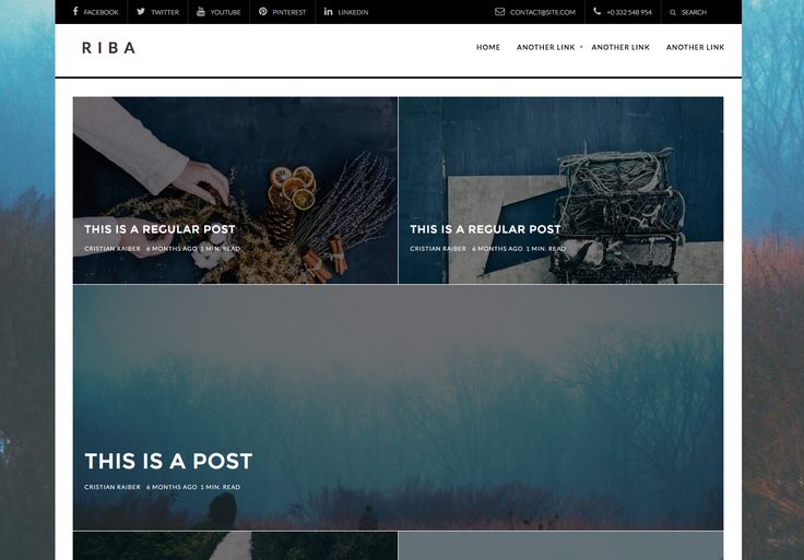 The Riba free WordPress blogging theme. More info:  http://curatable.net/20-free-wordpress-themes-i-would-actually-use-to-start-a-new-blog-in-2016/