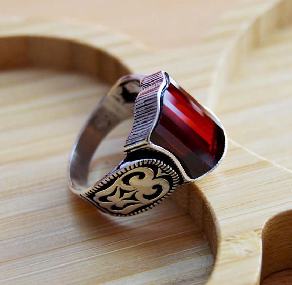 Mens Handmade Ring, Turkish Handmade Silver, Men Ring, Ottoman Mens Ring, Ruby Ring, Men Ring, Gift for Him, 925k Sterling Silver, Ring 925 Solid Sterling Silver, Handmade Each ring is hand crafted and is stamped on the inside All Sizes Availabes Just Tell me the size you need.