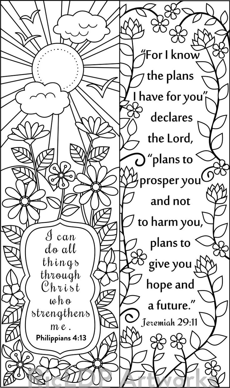 Coloring pages bible verses - 8 Bible Verse Coloring Bookmarks
