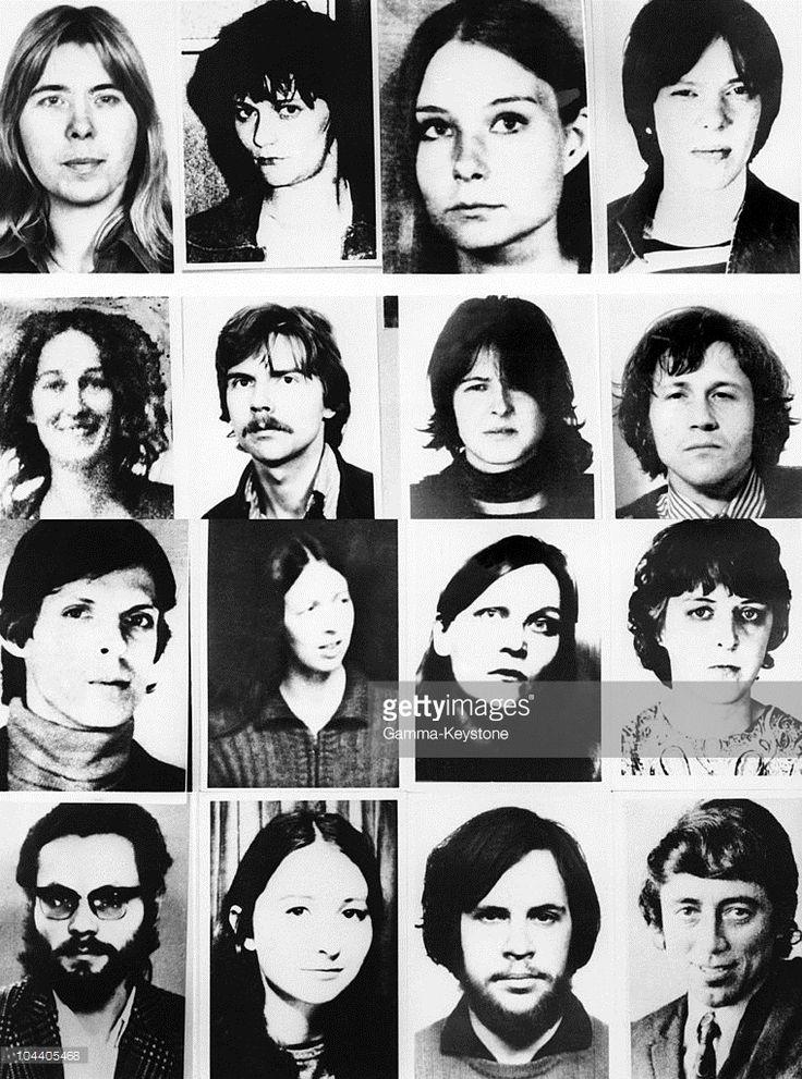 These persons were suspected of being in contact with Hans Martin SCHLEYER's murderer, and of belonging to Baader's gang. From left to right, and top to bottom : Inge VIETT, Juliane PLAMBECK, Angelika SPEITEL, Susanne ALBECHT, Sigrid STERNEBECK, Willy Peter STOLL, Adelheid SCHULZ, Christoph WACKERNAGEL, Christian KLAR, Elisabeth von Dyck, Brigitte MOHNAUPT, Silke Maier WITT, Rolf Clemens WAGNER, Friederike KRABBE, Rolf HEISSLER, Joerg LANG.October 27, 1977: These persons were suspected of…