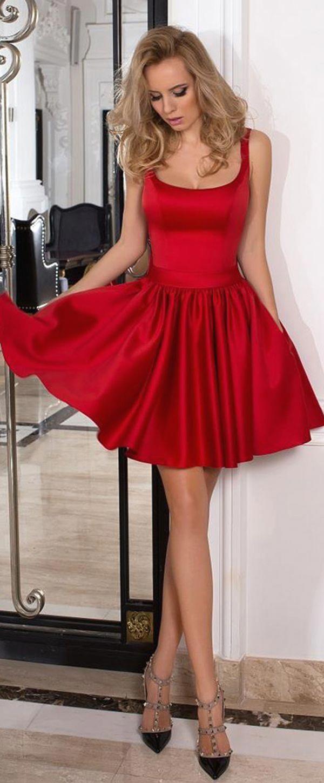 modest satin square neckline short a-line cocktail dresses