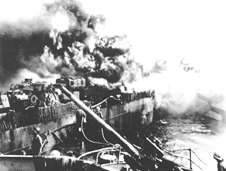 USS LST-472 after Kamikaze attack at Mindoro Island, 19 December 1944.