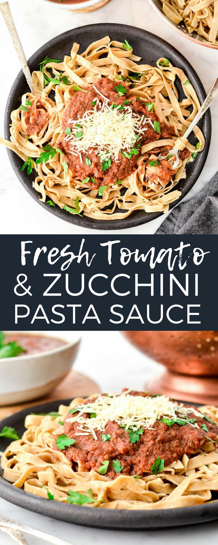 Fresh Tomato Zucchini Pasta Sauce Made In The Blender A Versatile Marinara Sauce That Is Loa Zucchini Pasta Sauce Pasta Sauce Recipes Healthy Homemade Pizza