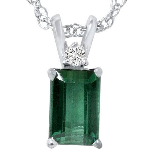 Turmalina verde & diamante solitario colgante 14K oro por Pompeii3