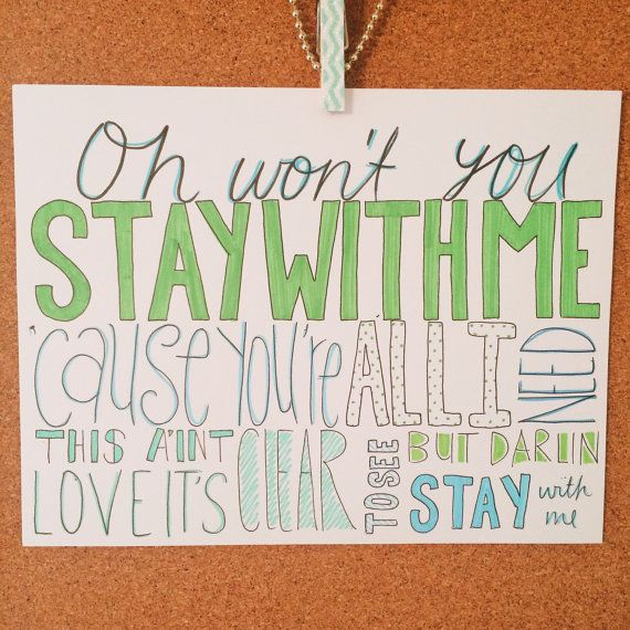 Stay With Me Sam Smith Lyric Drawing by AlexiasDrawings on Etsy