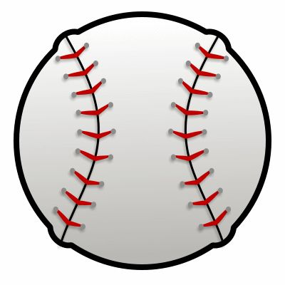 Simple cartoon baseball made with five circles and a few lines.
