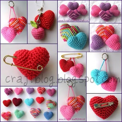 crochet hearts, could be used on lots of different craft projects