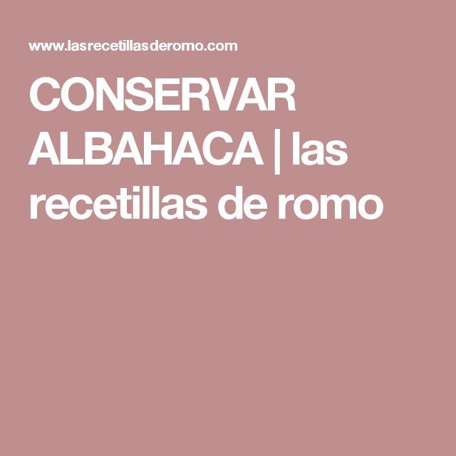 CONSERVAR ALBAHACA | las recetillas de romo