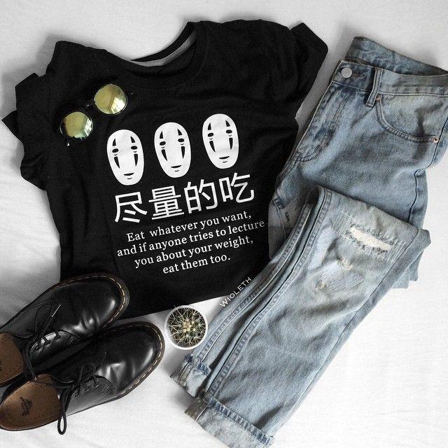 """Eat Whatever You Want"" Shirt – #fashion #kawaii #shirts #anime #ghibli"