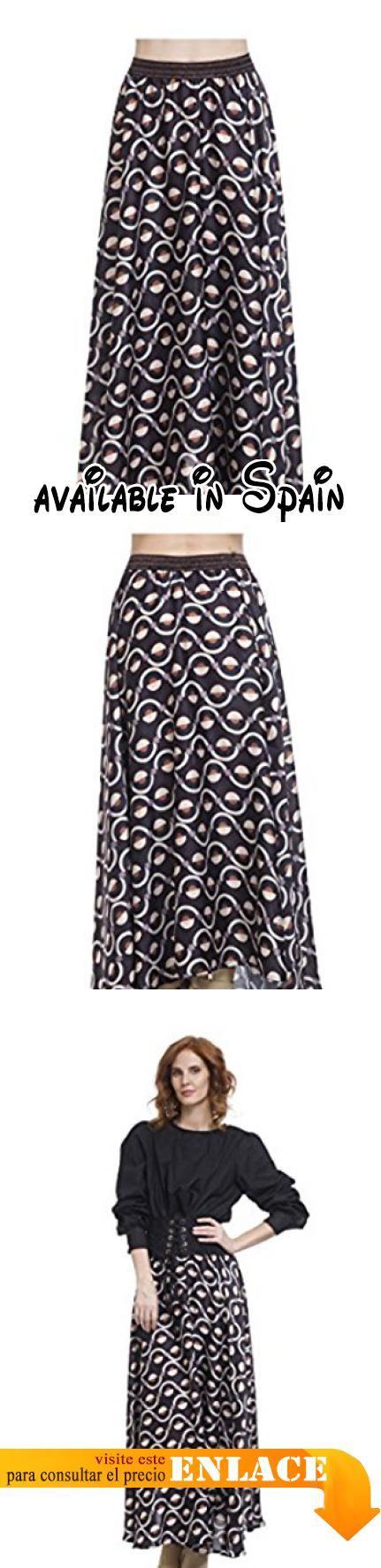 B076HCXSBB : TANTRA - Falda ROMINA - Mujer - UNICO - Negro. Falda larga estampada. Con elástico en la cintura. Efecto asimétrico. Acabado con solapa. Longitud 120cm