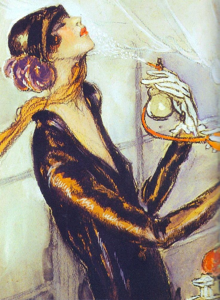 """20's Flapper. """"Where should one perfume?… Wherever one wants to be kissed"""" Coco Chanel (quote). La Garcome (1925) By Jean-Gabriel Domergue. From Perfume Bottles by Judith Miller (2006) (please follow minkshmink on pinterest) #perfumebottle #perfume #fragrance #flapper #twenties #artdeco #deco #jazzage #jazzbaby #dressingup #glamour"""
