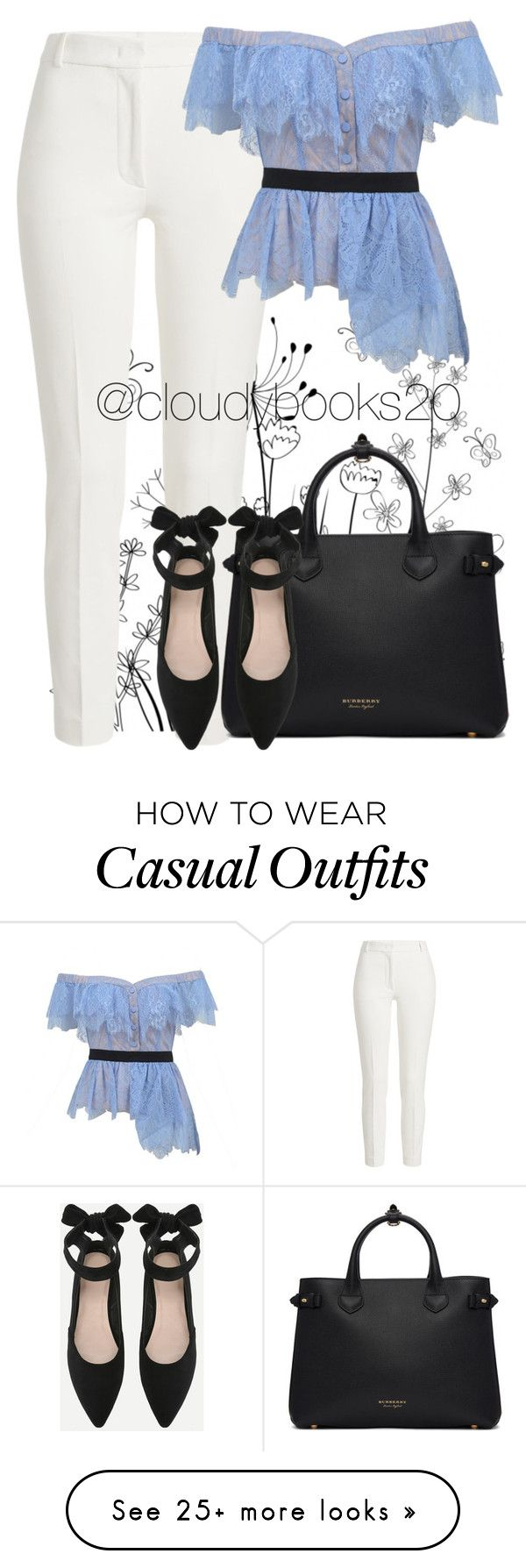 """Semi Casual Day"" by cloudybooks on Polyvore featuring Joseph, self-portrait and Burberry"
