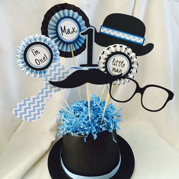 Celebrating your little mans 1st Birthday?!  This centerpiece would be adorable on a party or buffet table! If you would like it customized please