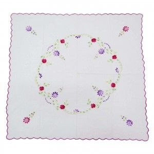"""White Table Runner Cotton Embroidered Table Cloth/Linen Home Décor Art 36""""X33"""""""