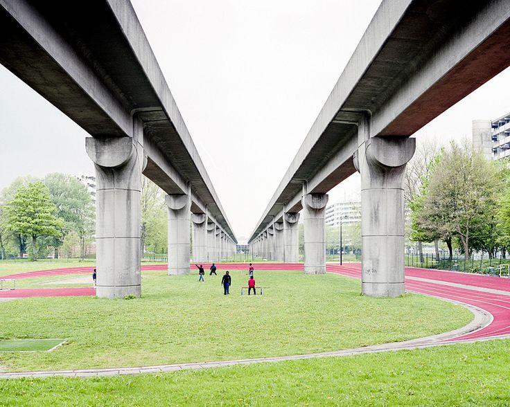 Running tracks, sporting fields under viaducts
