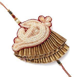 Traditional Moti Zari Work Designer Rakhi